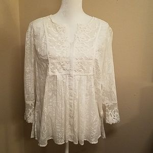BEAUTIFUL IVORY COLDWATER CREEK LACY BLOUSE